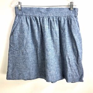 LOFT Chambray Blue A-Line Skirt Medium Pockets